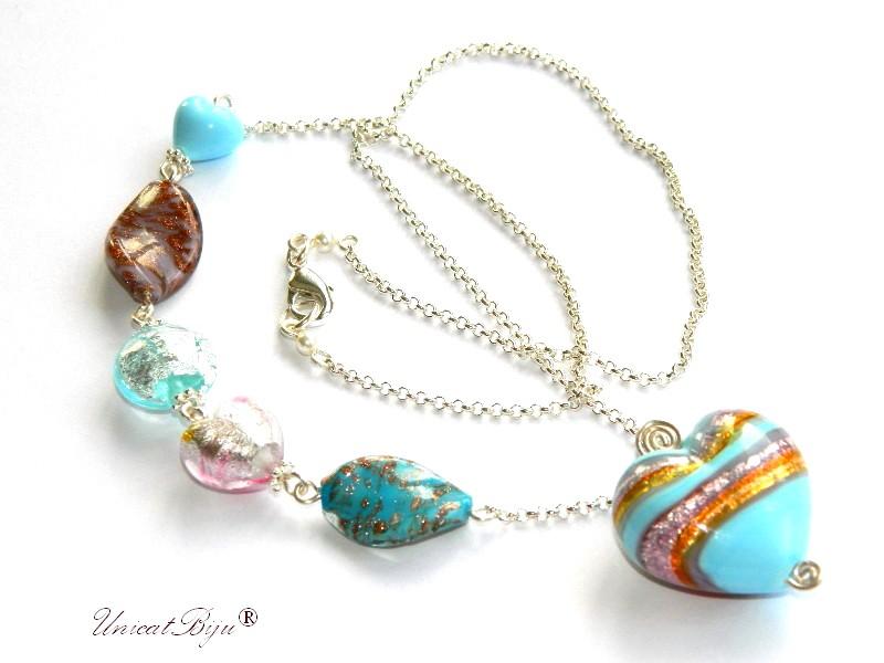 colier perle murano foita argint, pandantiv inima foita aur, lant argintat, azuriu, mov, bijuterii murano unicat, unicatbiju