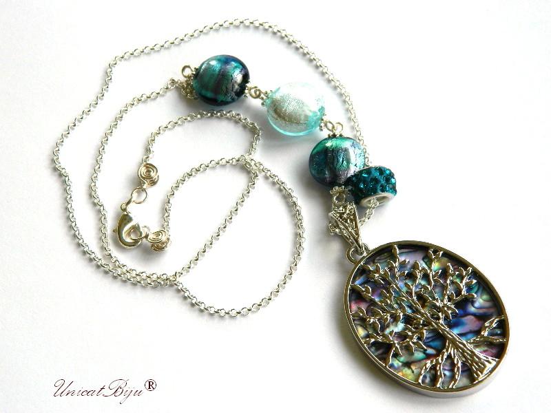 colier perle murano foita aur, argint, pandantiv sidef paua shell, lant argintat, bijuterii murano unicat, unicatbiju