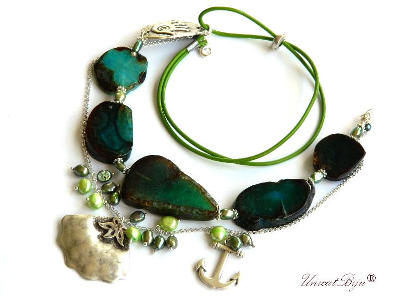 colier statement, agat masiv, bijuterii semipretioase unicat, scoica argintata, perle verzi, unicatbiju