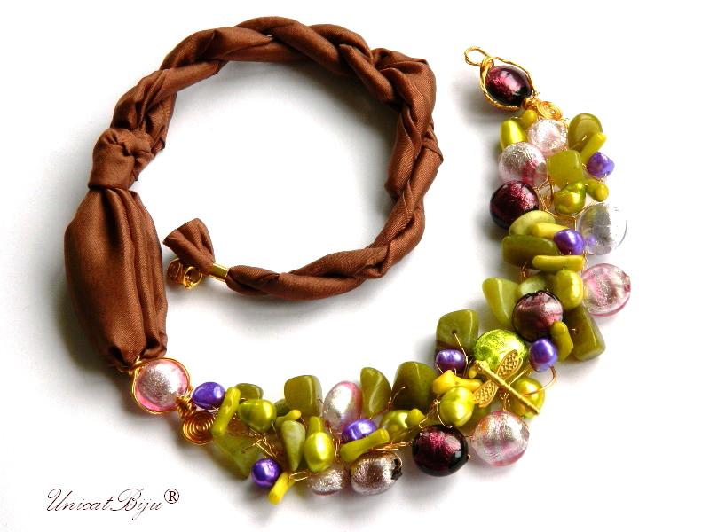 colier statement, bijuterii matase naturala, semipretioase, perle murano foita aur, jadeit, perle, unicatbiju
