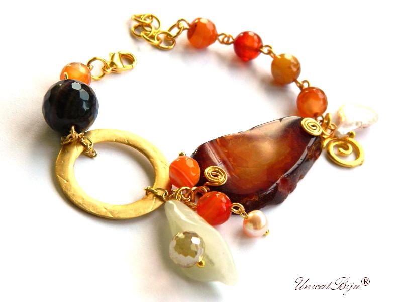 bratara statement, agat masiv, semipretioase, perle keshi, floare de jad, aurit, unicatbiju