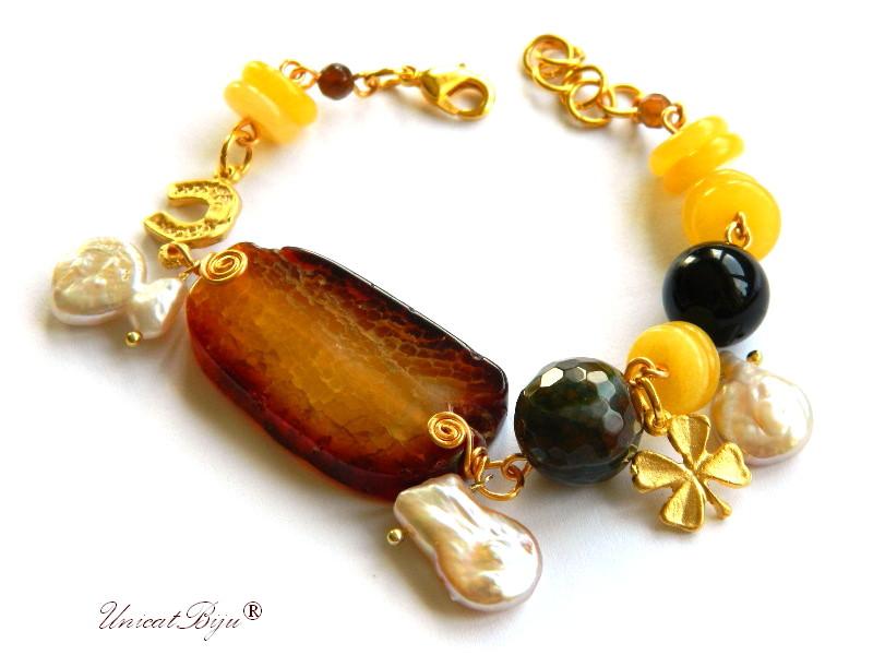bratara statement, agat masiv, semipretioase, perle keshi, jad galben, trifoi aurit, unicatbiju