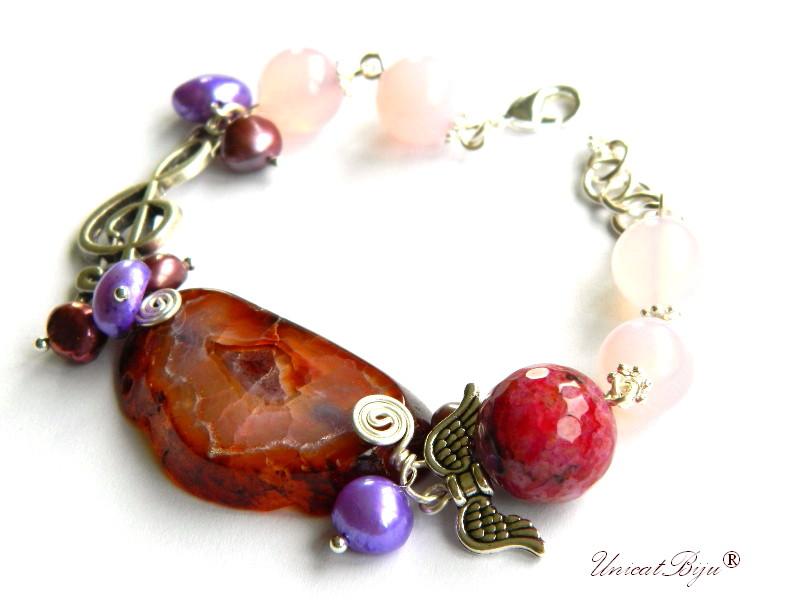 bratara statement, agat masiv, semipretioase, perle mov, cuart roz, piele naturala, aripi argintate, unicatbiju