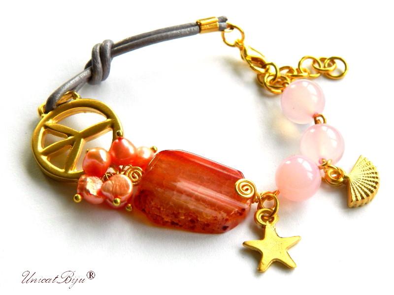 bratara statement, agat masiv, semipretioase, perle piersica, jad roz, piele naturala, stea aurita, unicatbiju