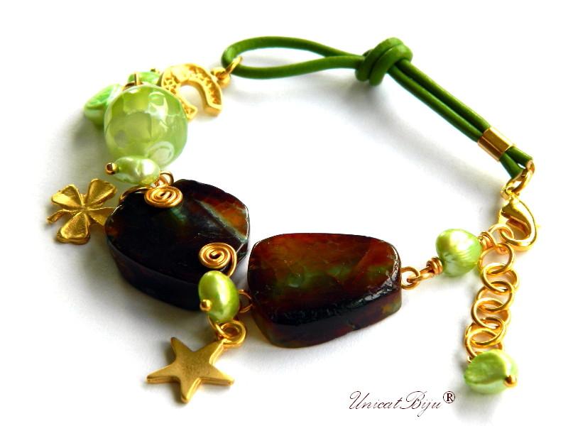 bratara statement, agat masiv, semipretioase, perle verz, piele naturala, potcoava aurita, unicatbiju