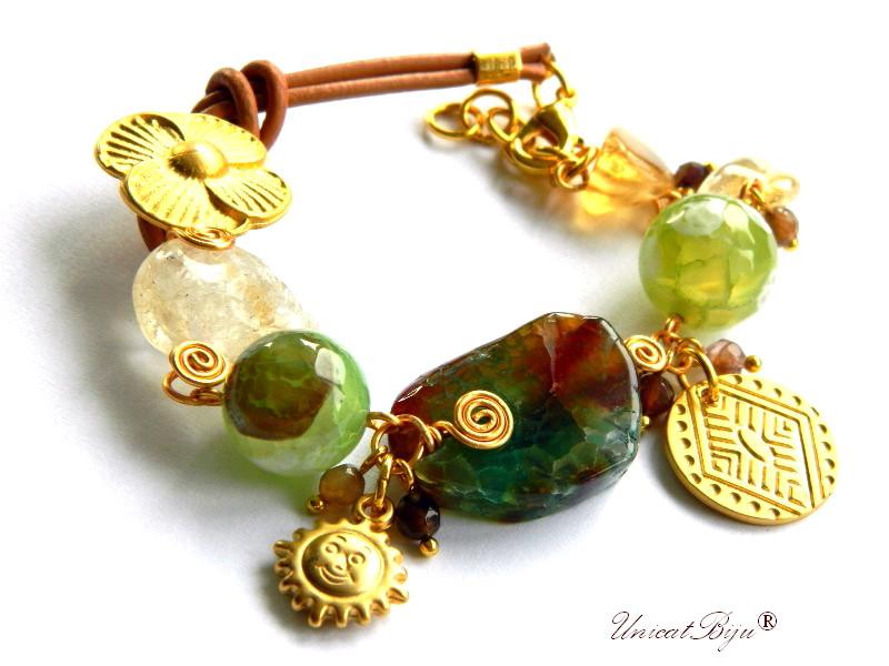 bratara statement, agat masiv, semipretioase, perle verzi, citrin, piele naturala, soare aurit, unicatbiju