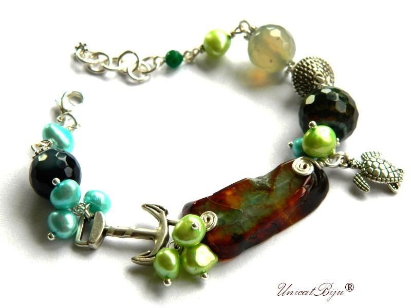 bratara statement, agat masiv, semipretioase, perle verzi, turcoaz, piele naturala, broscuta testoasa argintata, unicatbiju