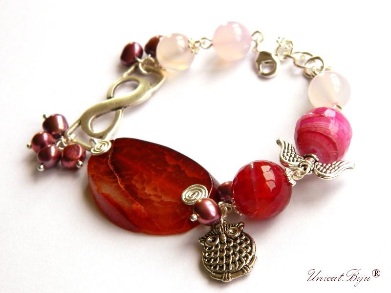 bratara statement, agat masiv, semipretioase, perle visinii, cuart roz, bufnita argintata, unicatbiju