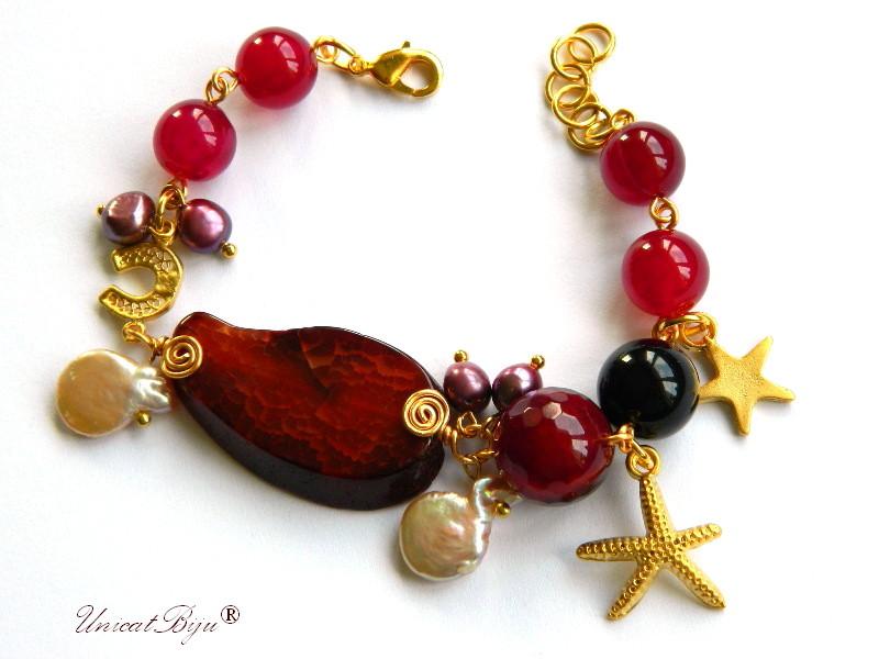 bratara statement, agat masiv, semipretioase, perle visinii, perle keshi, stea de mare aurita, unicatbiju