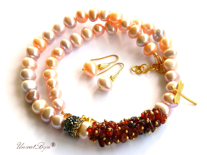 colier perle mari, sidef natural, granat orange, bijuterii semipretioase unicat, libelula aurita, cristale, unicatbiju