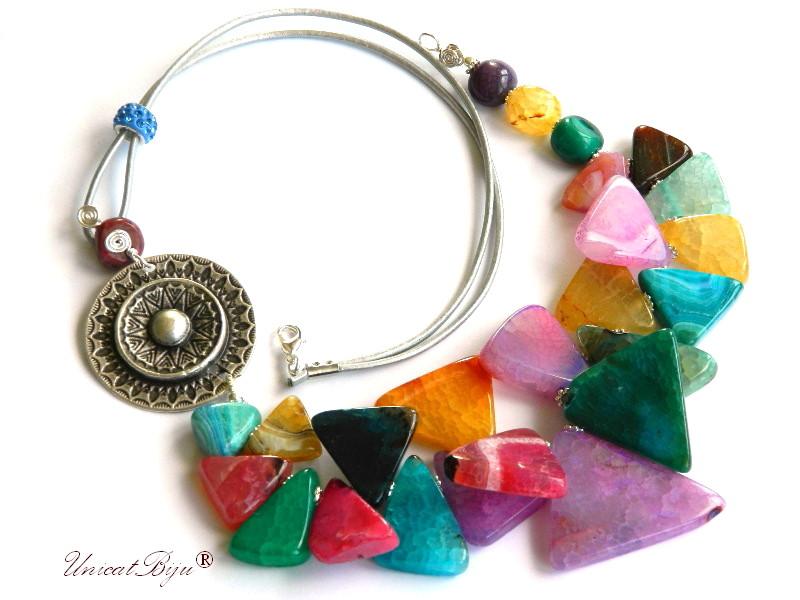 colier statement, agat masiv, bijuterii semipretioase unicat, multicolor, salba argintata, unicatbiju