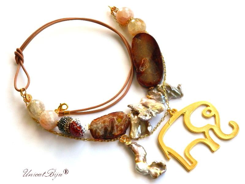 colier statement, agat masiv, geoda cuart, elefantel aurit, feng shui, bijuterii semipretioase unicat, perle keshi, unicatbiju