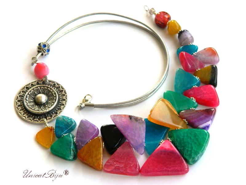 colier statement, agat masiv, multicolor, bijuterii semipretioase unicat, salba argintata, unicatbiju