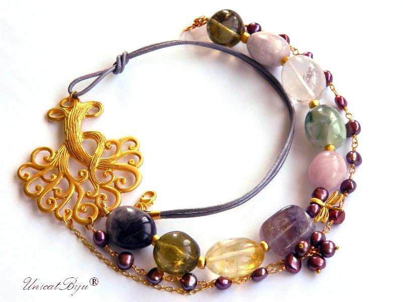 colier statement, copacul vietii aurit, bijuteri semipretioase, citrin, ametist, cuart roz, prehnit, perle burgundy, unicatbiju
