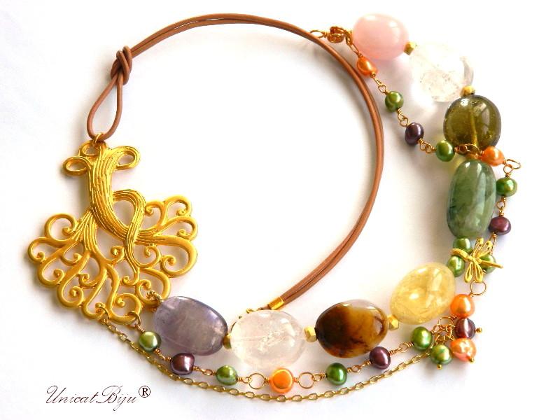 colier statement, copacul vietii aurit, bijuterii semipretioase unicat, citrin, ametist, cuart roz, prehnit, perle, unicatbiju