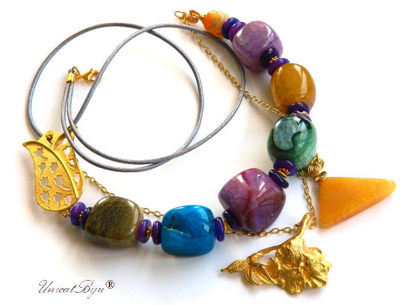 colier statement, laleau aurita, bijuterii semipretioase, agat masiv, multicolor, jad mov, unicatbiju