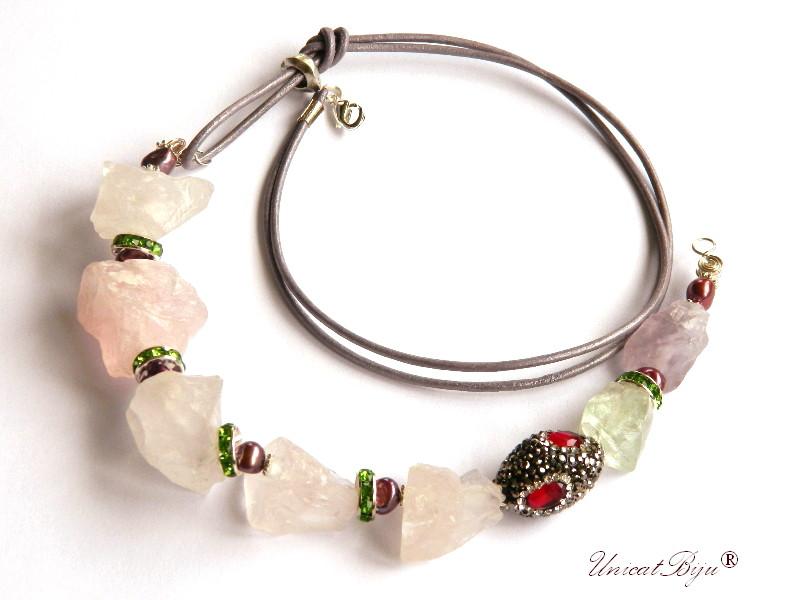 colier cuart roz brut, statement, bijuterii semipretioase unicat, prehnit, ametist, cristale, unicatbiju