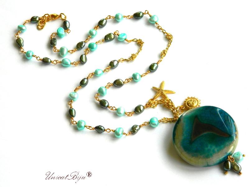 colier extra lung, bijuterii semipretioase unicat, perle multicolore, sidef natural, stea de mare aurita, agat masiv, unicatbiju