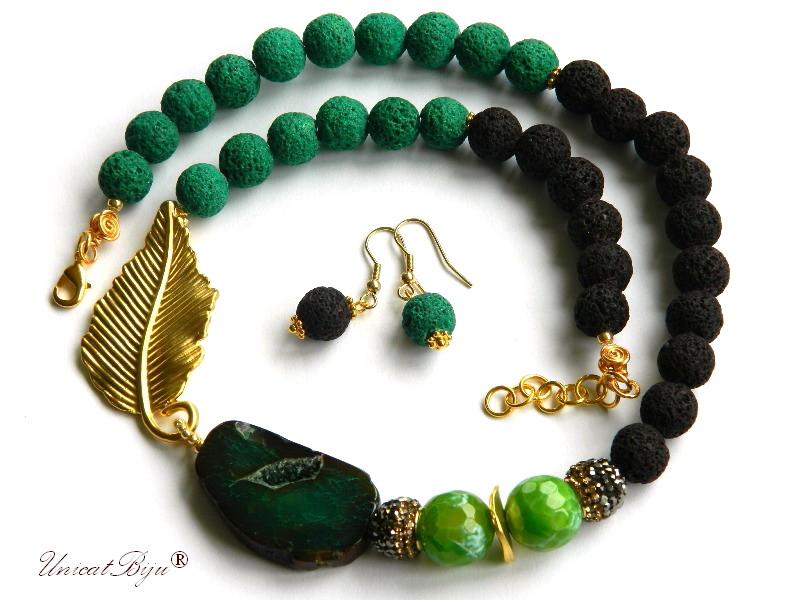 colier lava, bijuterii semipretioase unicat, agat verde, geoda, cristale, frunza aurita, unicatbiju