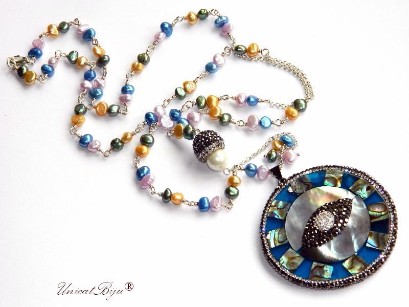 colier lung, statement, pandantiv paua shell, perle sidef natural, bijuterii semipretioase unicat, cristale, hematit, unicatbiju