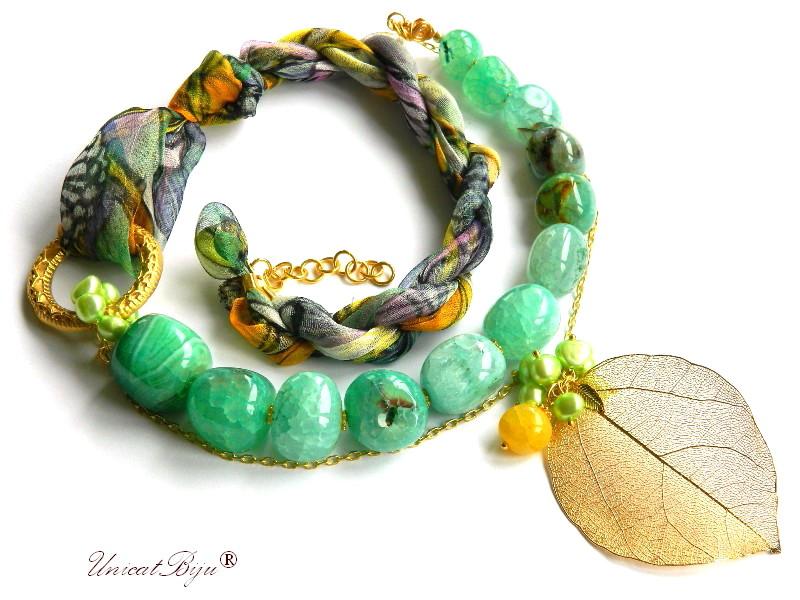 colier statement, agat verde masiv, matase naturala, bijuterii semipretioase unicat, perle sidef natural, frunza filigran aurit, unicatbiju