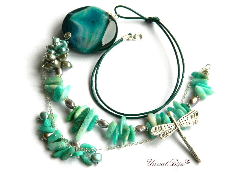 colier statement, amazonit, perle sidef natural, agat masiv, bijuterii semipretioase unicat, libelula argintata, unicatbiju