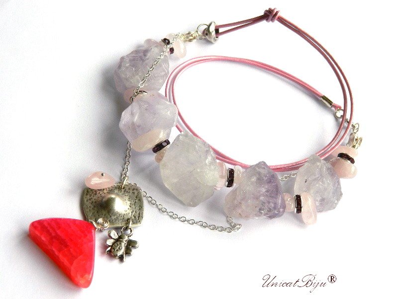 colier statement, ametist brut, agat roz, bijuterii semipretioase unicat, cristale, cuart roz, unicatbiju