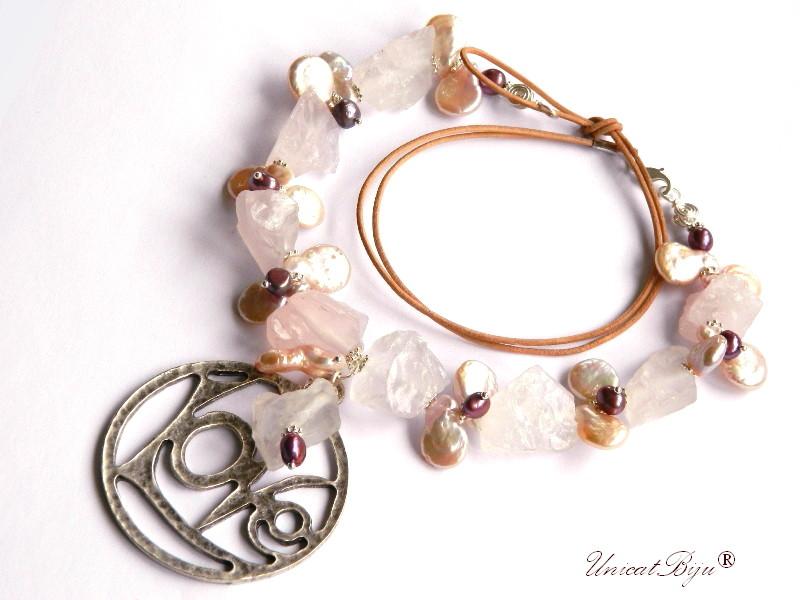 colier statement, bijuterii semipretioase unicat, perle keshi, cuart roz brut, perle burgundy, unicatbiju