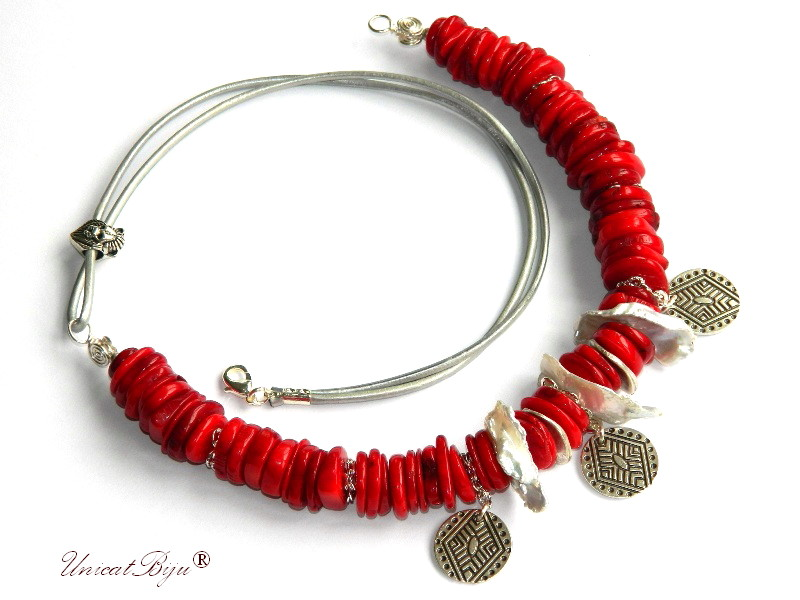 colier statement, coral rosu, perle keshi, snur piele, tema game of thrones, bijuterii semipretioase unicat, salba, unicatbiju
