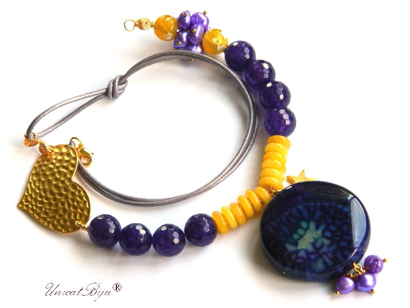 colier statement, jad mov, calcit galben, perle sidef natural, bijuterii semipretioase unicat, inima aurita, unicatbiju