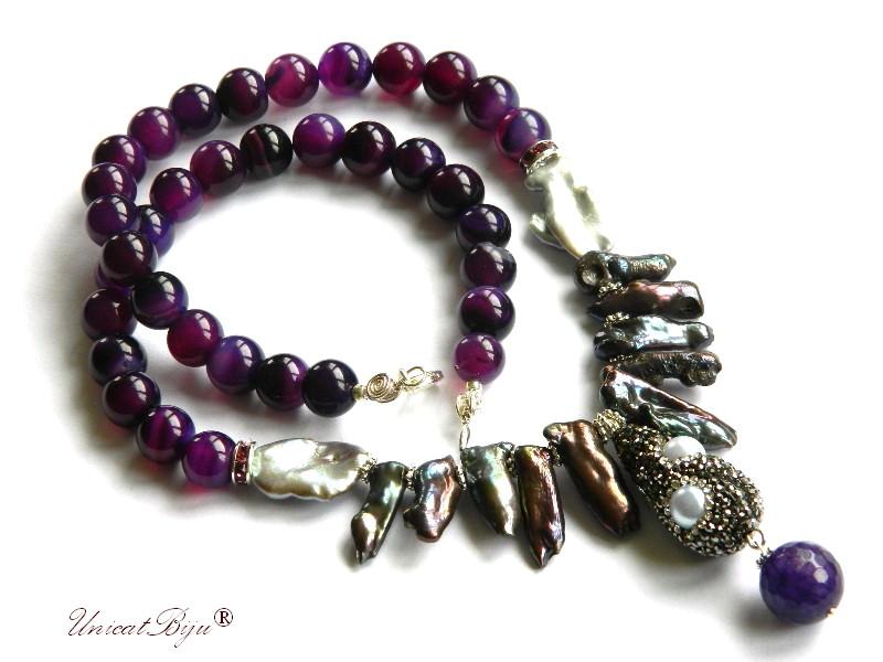 colier statement, perle biwa, bijuterii semipretioase unicat, agat mov, jad, cristale, unicatbiju