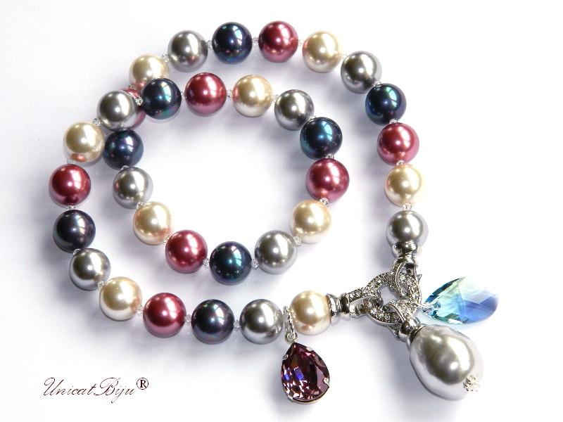 colier statement, perle mallorca mari, cristale swarovski, bijuterii unicat, unicatbiju