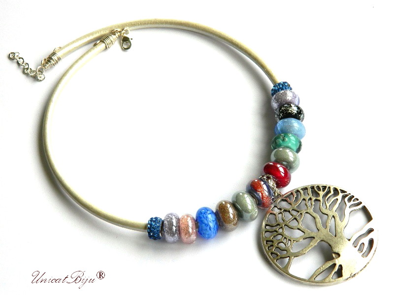 colier statement, perle murano, copacul vietii argintat, masiv, piele naturala metalizata, unicatbiju