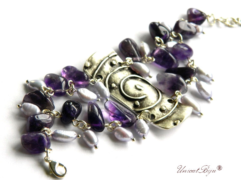 bratara statement, bijuterii semipretioase unicat, pafta argint, ametist, perle lavanda, unicatbiju