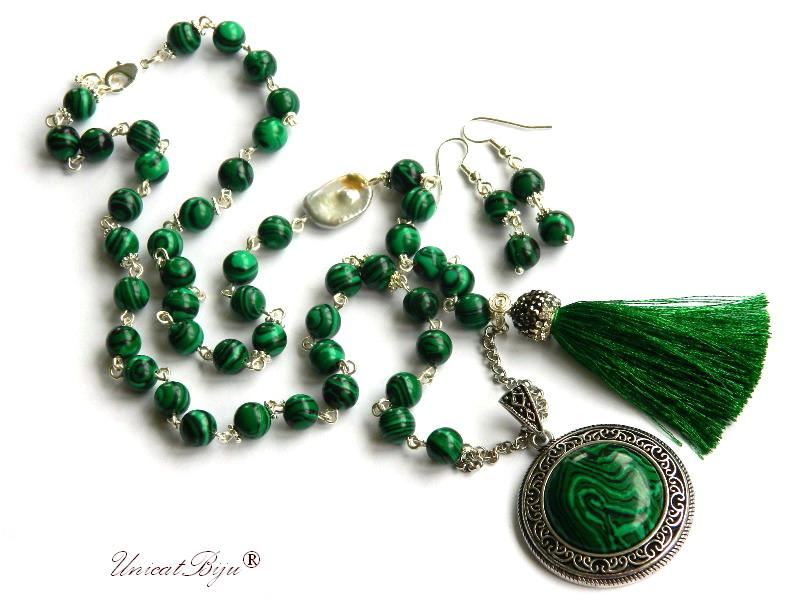 colier extra lung, malachit, bijuterii semipretioase unicat, perle keshi, ciucure matase, cristale, unicatbiju