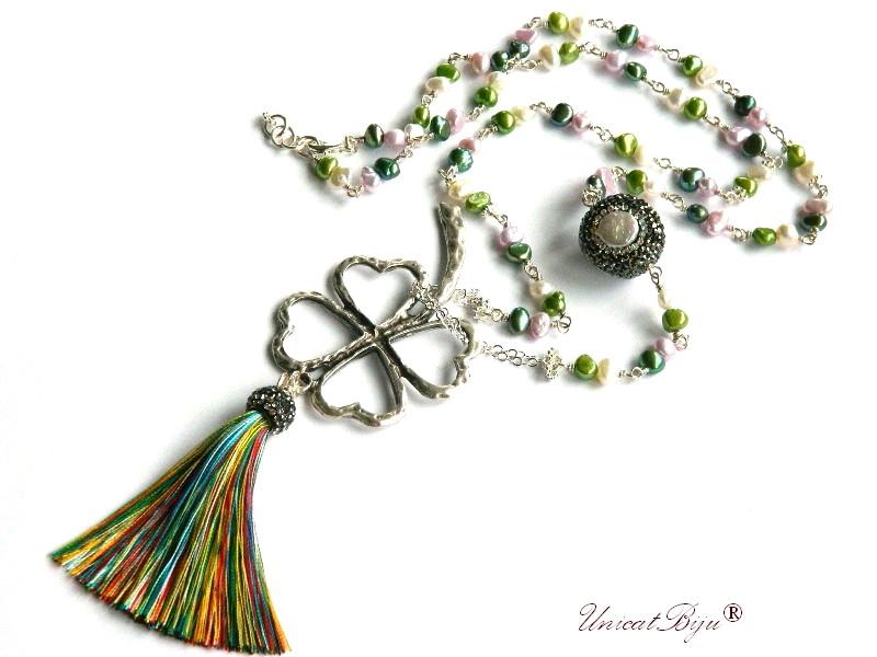 colier extra lung, perle multicolore, sidef natural, perle keshi, bijuterii semipretioase unicat, trifoi argintat, unicatbiju