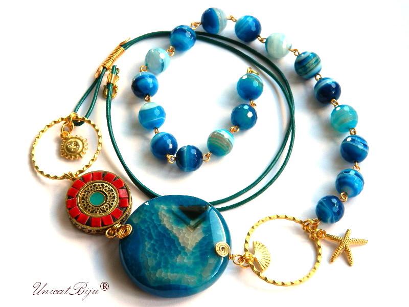 colier lung, agat albastru, bijuterii semipretioase unicat, statement, coral, stea de mare aurita, vara, etnic, unicatbiju