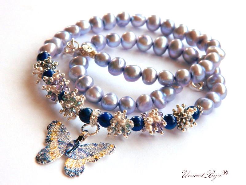 colier perle sidef natural, lapis lazuli, bijuterii semipretioase unicat, fluture filigran argintat, perle swarovski, cristale, unicatbiju