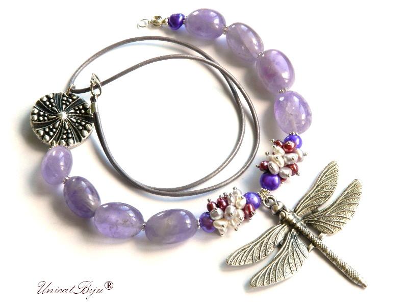 colier statement, ametist masiv, bijuterii semipretioase unicat, perle multicolore, sidef naturla, libelula argintata, unicatbiju