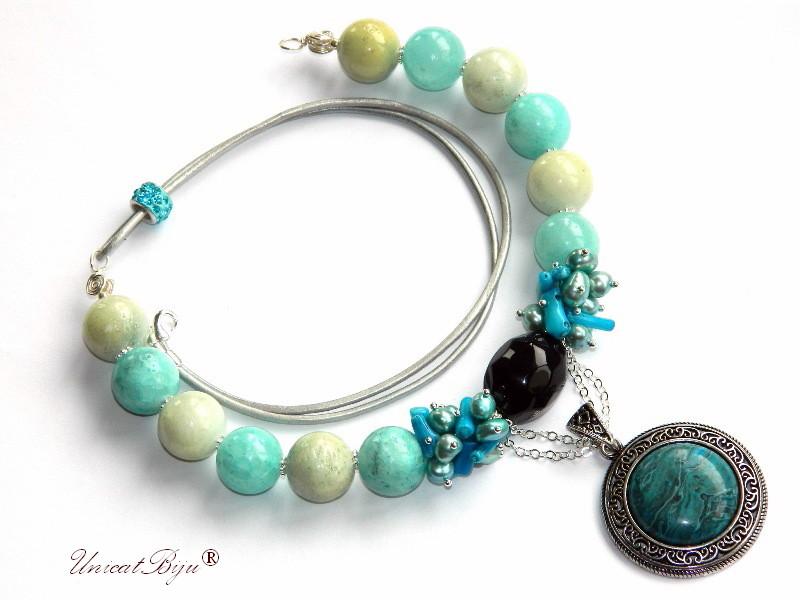 colier statement, bijuterii semipretioase unicat, agat masiv, perle sidef natural, coral albastru, pandantiv jasp, unicatbiju