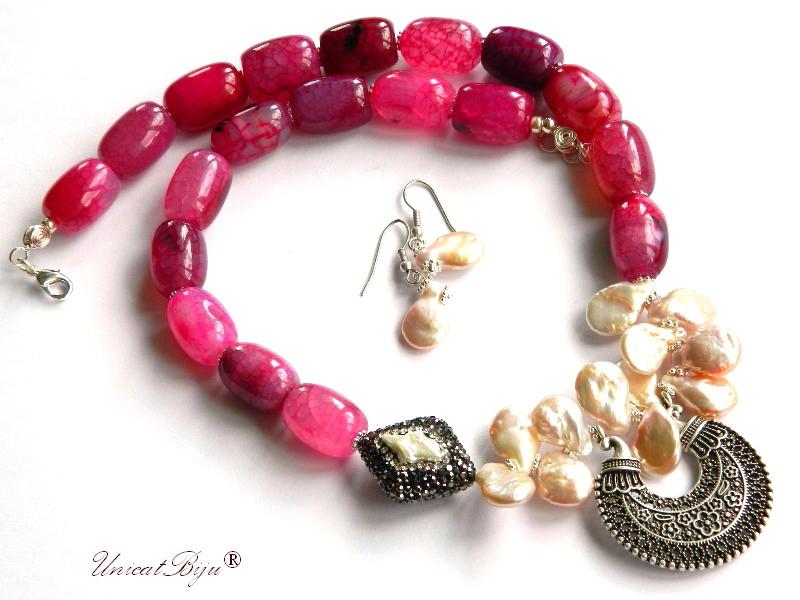 colier statement, perle keshi, bijuterii semipretioase unicat, agat masiv roz, pandantiv persan, unicatbiju, cercei perle