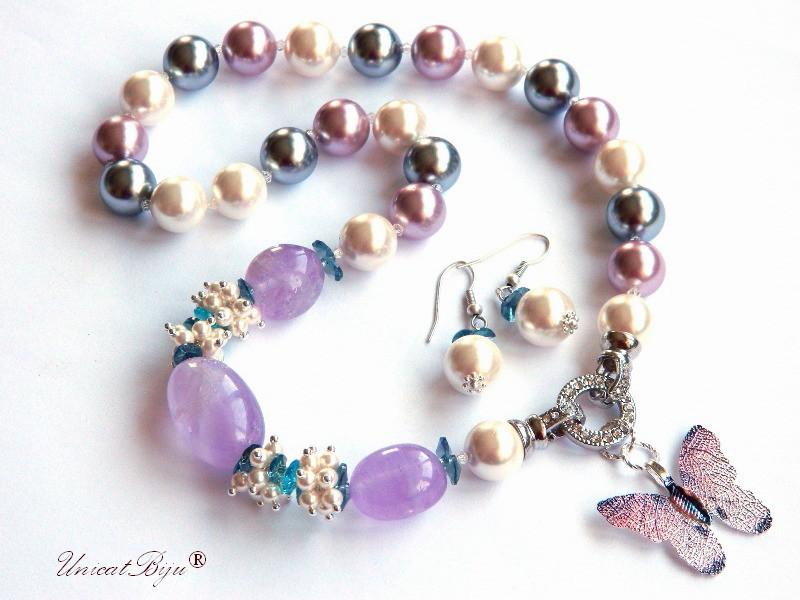 colier statement, perle mallorca mari, ametist masiv, bijuterii semipretioase unicat, perle swarovski, cristale, unicatbiju