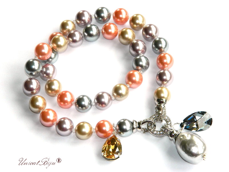 colier statement, perle mallorca mari, culoarea anului 2019, bijuterii semipretioase unicat, cristale swarovski, unicatbiju, living coral