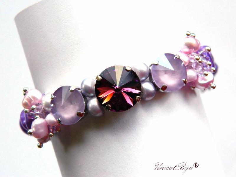 bratara statement, cristale swarovski, perle, sidef natural, multicolor, bijuterii unicat, amethyst, lavender delite, unicatbiju