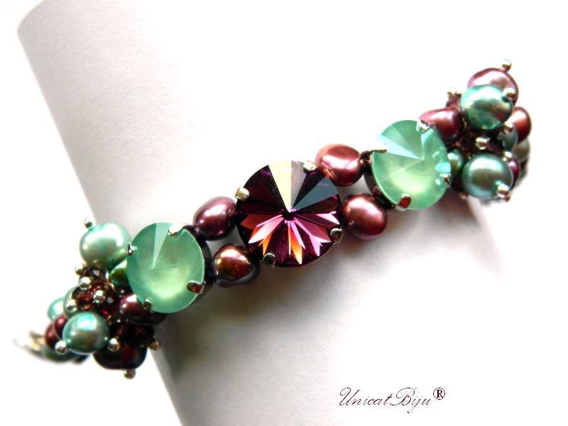 bratara statement, cristale swarovski, perle, sidef natural, multicolor, bijuterii unicat, amethyst, mint, unicatbiju