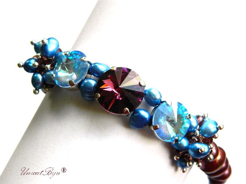 bratara statement, cristale swarovski, perle, sidef natural, multicolor, bijuterii unicat, amethyst, ocean delite, unicatbiju