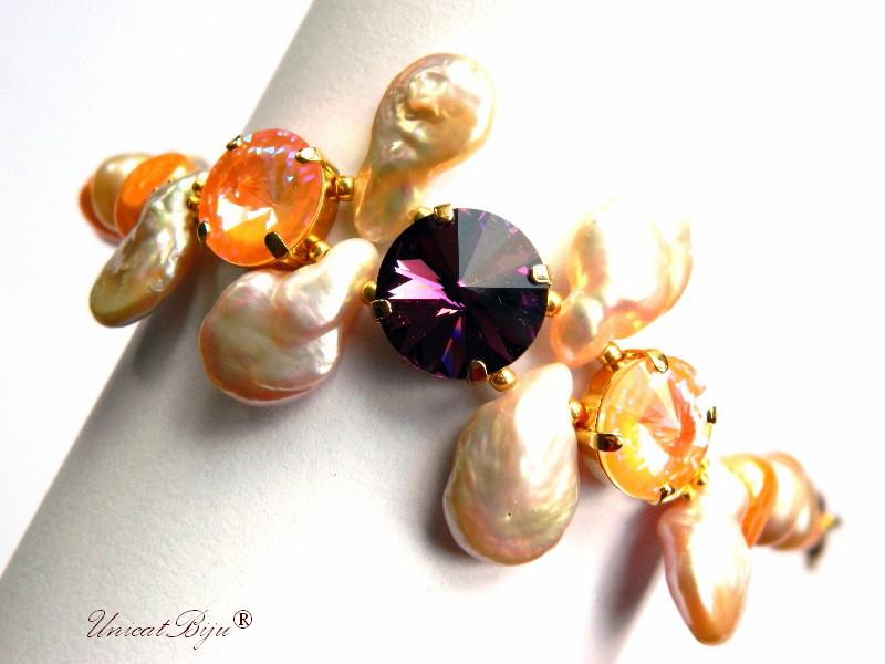 bratara statement, cristale swarovski, perle, sidef natural, multicolor, bijuterii unicat, amethyst, peach delite, perle keshi, unicatbiju
