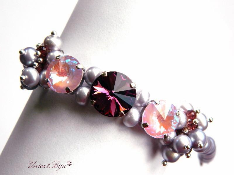 bratara statement, cristale swarovski, perle, sidef natural, multicolor, bijuterii unicat, amethyst, rose, unicatbiju