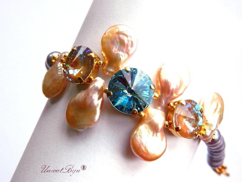 bratara statement, cristale swarovski, perle, sidef natural, multicolor, bijuterii unicat, aquamarine, perle keshi, unicatbiju