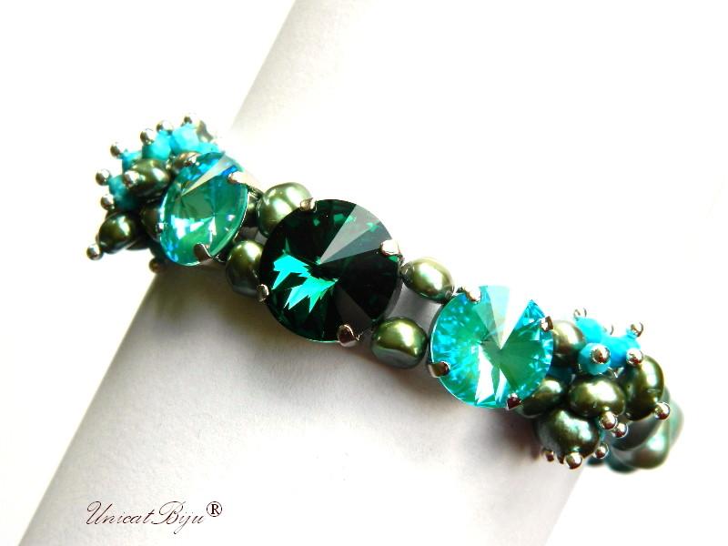 bratara statement, cristale swarovski, perle, sidef natural, multicolor, bijuterii unicat, emerald, lagoon delite, unicatbiju